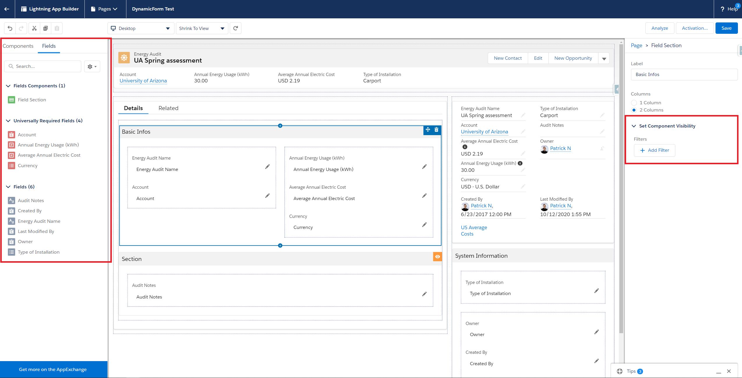 Salesforce Dynamic Forms Screenshot